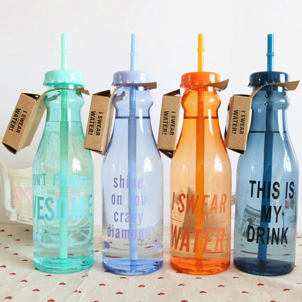 Portable Sport Travel Plastic Fruit Juice Water Bottle Cup With Straw Hp Unbranded