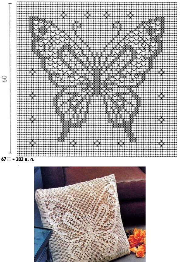 Filet Crochet Pillow | Patterned | Pinterest | Mariposas, Cenefas y ...