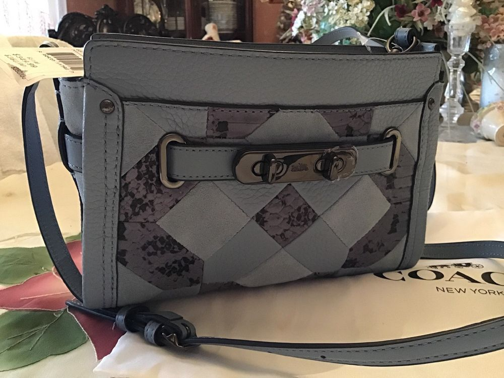 506b3382879 Coach Swagger Wristlet crossbody Patchwork Exotic Embossed Snake Skin  Pebble Lth