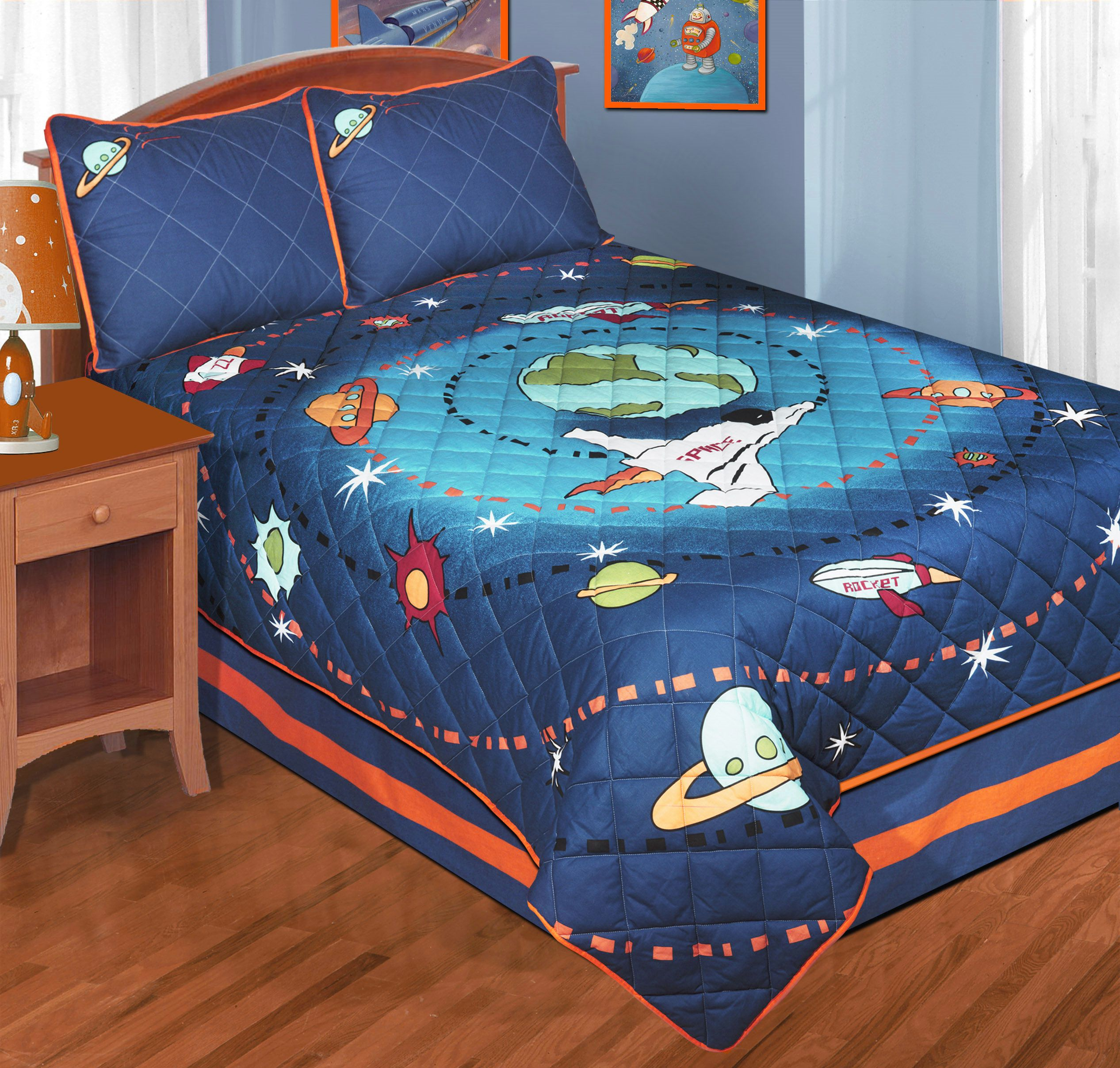 Rocket Bed blue outer space bedding twin or full quilt sets - galaxy space