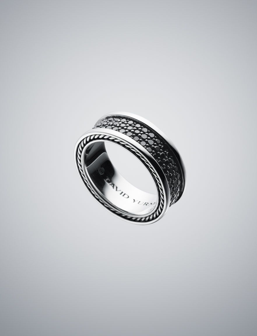 Exceptionnel 8.5mm Black Diamond Pave Ring | David Yurman Official Store