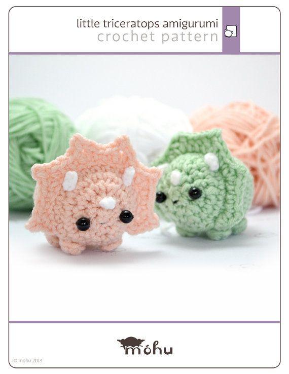 Crochet dinosaur pattern - amigurumi triceratops pattern | Natividad ...