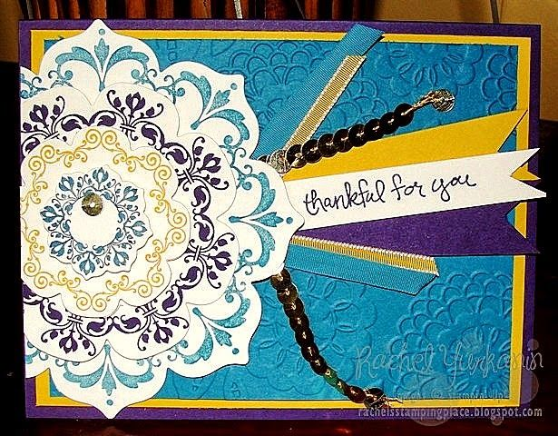 Using Stampin' Up!'s big shot and bundles promotion to creative this Flowery Daydream card. I just love how much the lovely lace embossing folder brings it all together. Also, a sneak peak at Good Times, a stamp set for future hostesses. Ask me more details on that. Visit Rachel's Stamping Place.