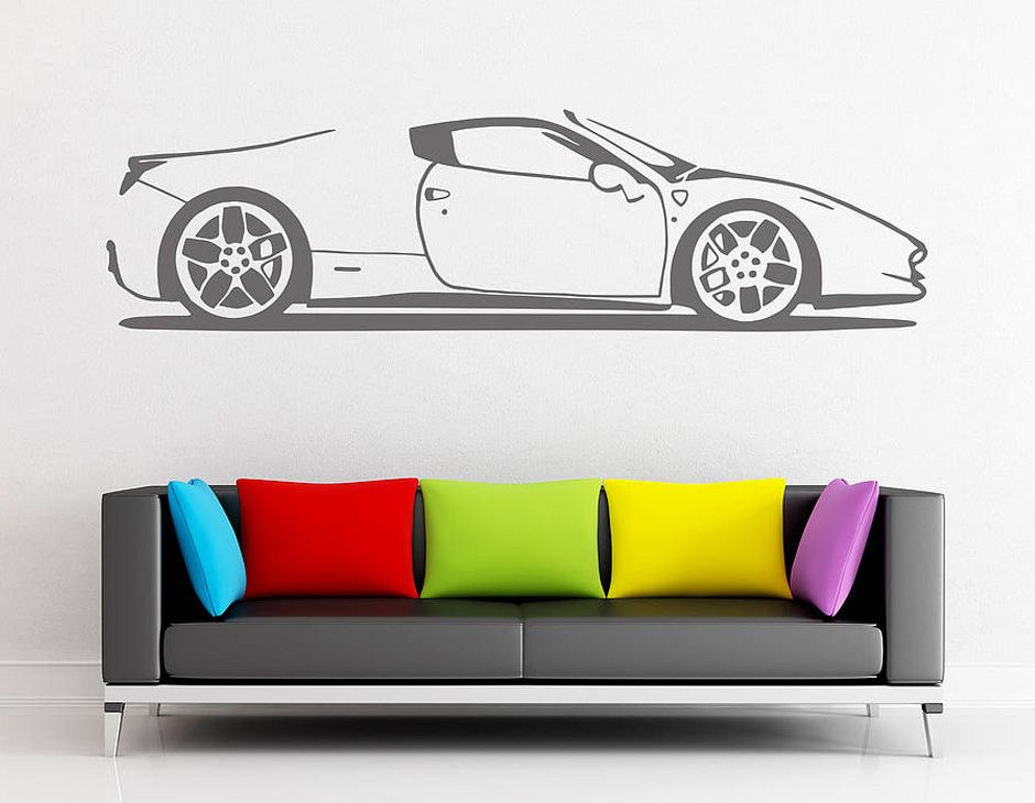 Spider Sports Car Vinyl Wall Sticker | Contemporary Wall Stickers Part 35