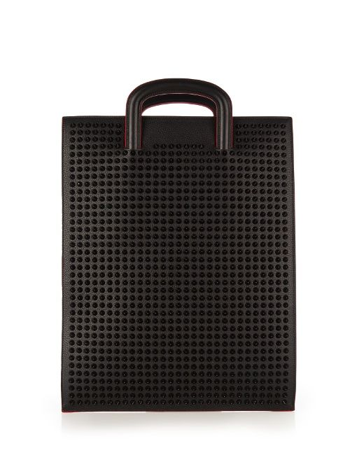 Christian Louboutin Trictrac Large Spike Embellished Leather Tote