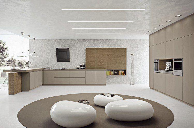 Couleur Pour Cuisine Moderne   Armoires En Beige Et En Bois, Plafond Et  Murs En