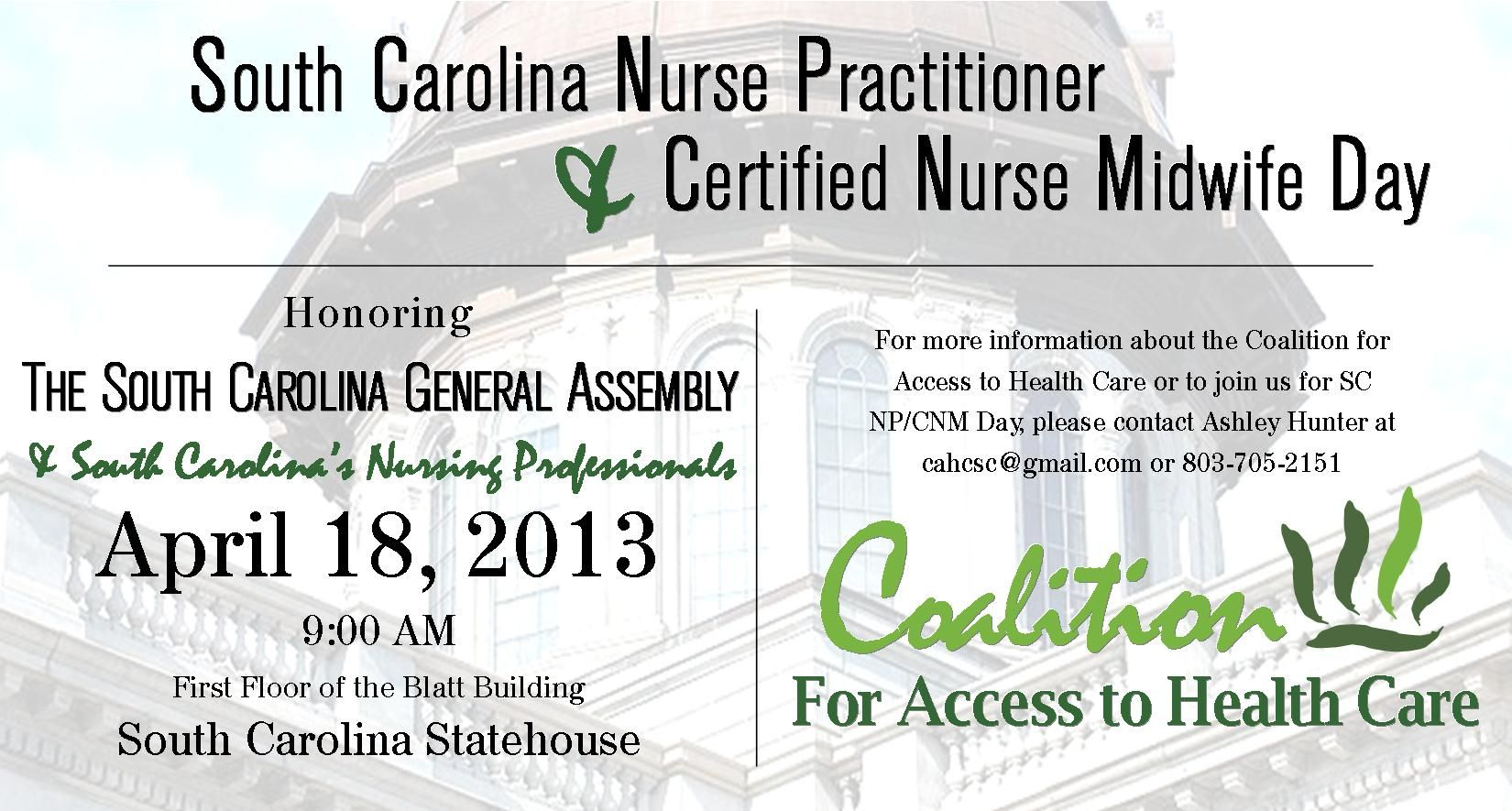 Thursday, April 18th is NP/CNM Day at the SC Statehouse