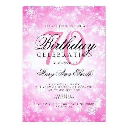 Elegant 70th Birthday Pink Winter Wonderland Card