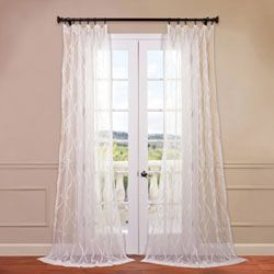 Contessa White 50 X 108 Inch Embroidered Sheer Curtain Curtains