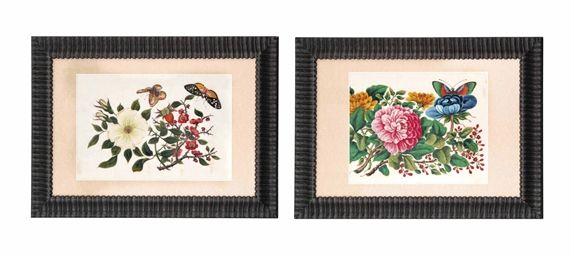 TWELVE CHINESE RICEPAPER PAINTINGS OF FLOWERS  LATE 19TH CENTURY