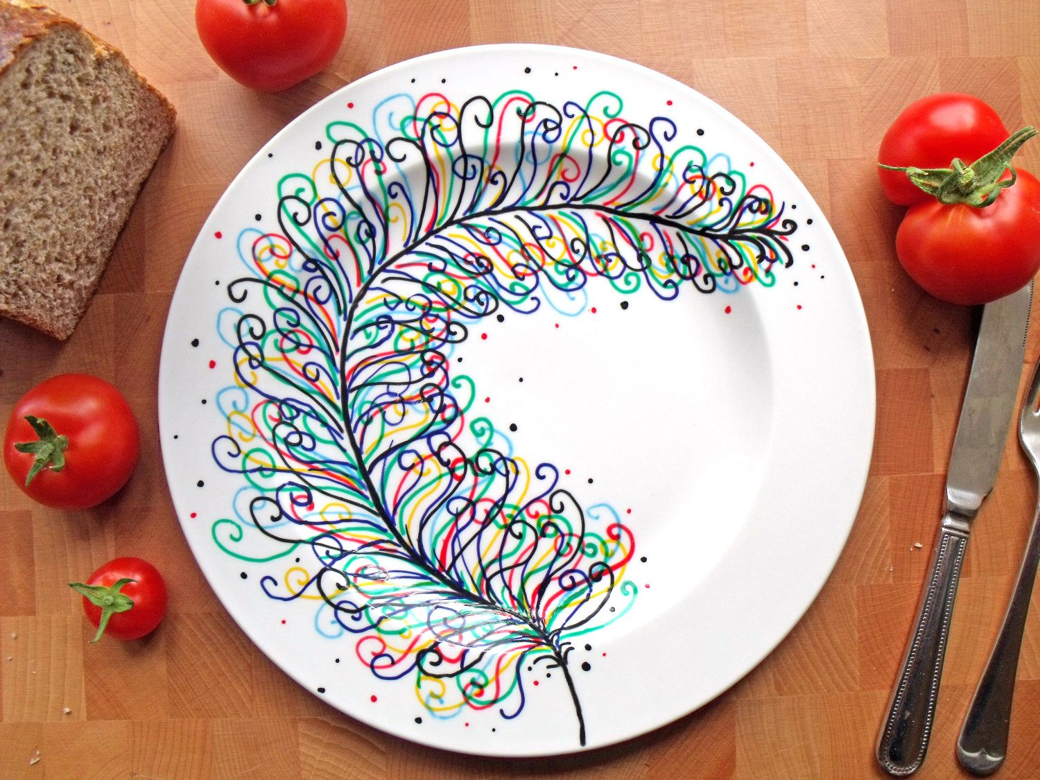 Hand painted porcelain dinner plate rainbow feather for Ceramic painting patterns
