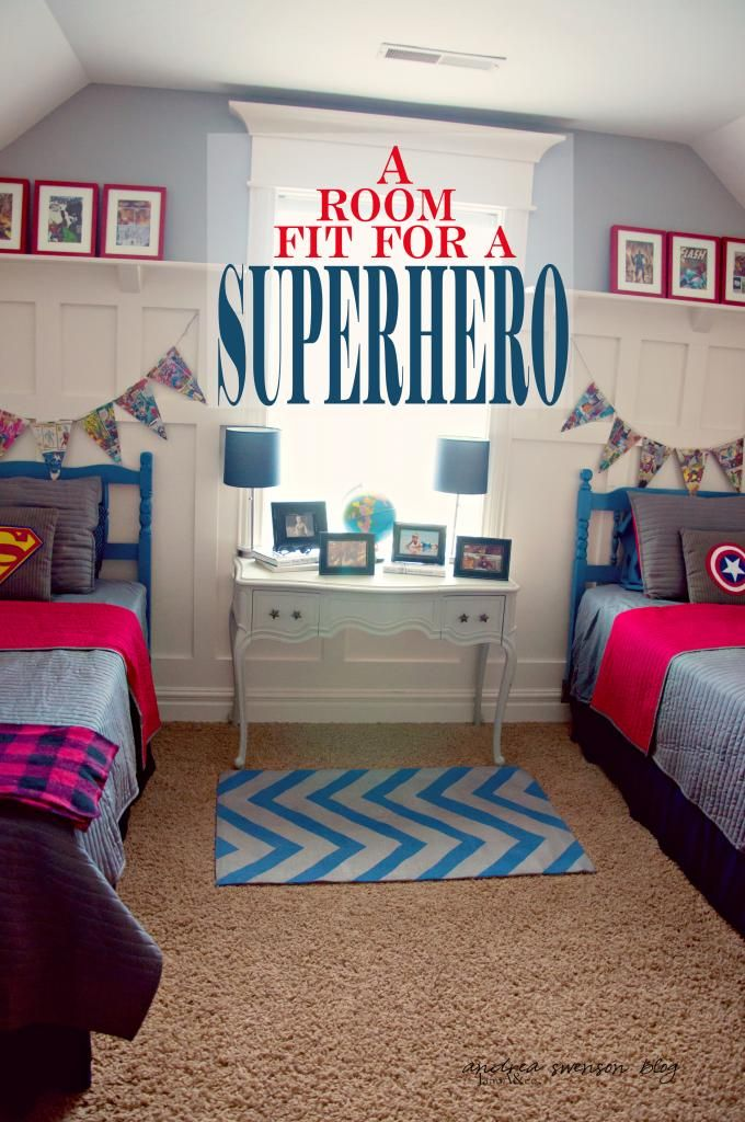 boys superhero bedroom. love the banner, but maybe add the twins