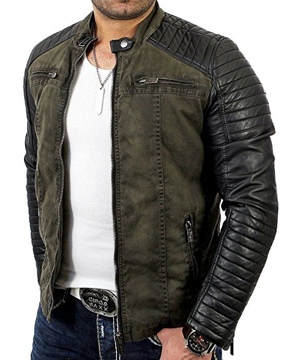 2d233a5bc Redbridge Men's Biker Art Leather Jacket R-41451 Khaki 2XL: Amazon ...