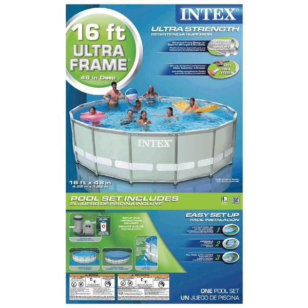16 X 48 Ultra Frame Pool Set W 1 500 Gph Filter Pump Ladder Ground Cloth Cover Dvd Sears Intex Pool Swimming Pools