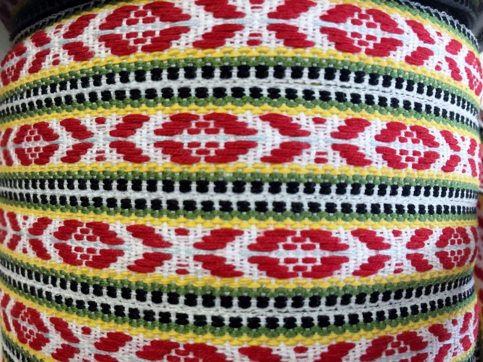 Scandinavian Ribbon Trim Hand Woven Swedish Folk Art Hand Weaving Scandinavian Folk Art Ribbon Trim