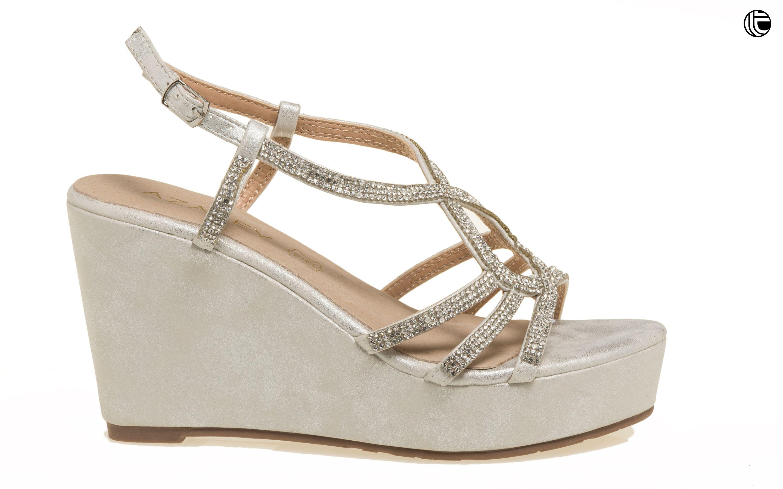 87bc0b247f4 Sandalia de fiesta con tacón topolino en tono plata   Zapatos de ...