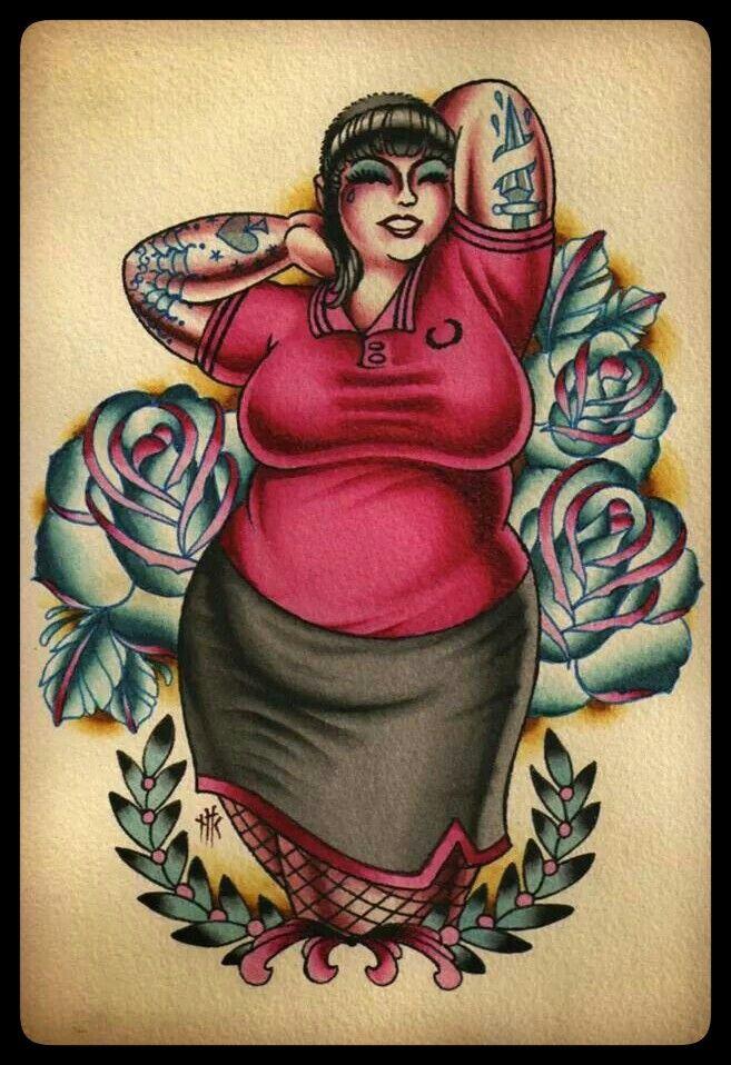girl Fat pin tattoo up