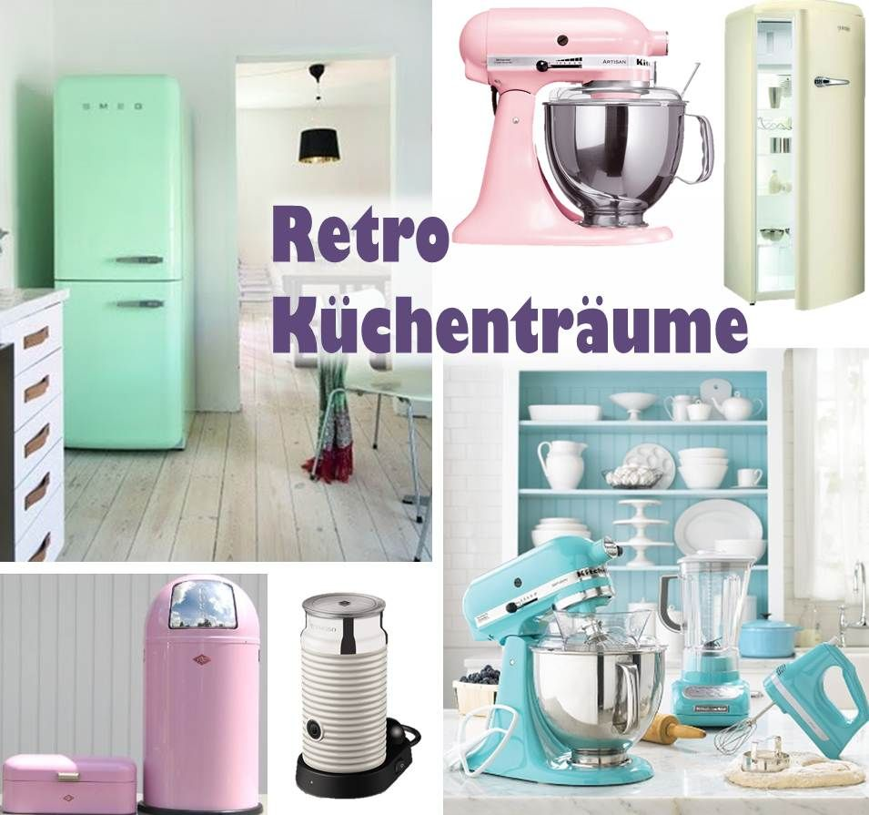 retro k che smeg kitchenaid wesco pushboy bonbonfarben 50s diner kitchen 50er k che. Black Bedroom Furniture Sets. Home Design Ideas