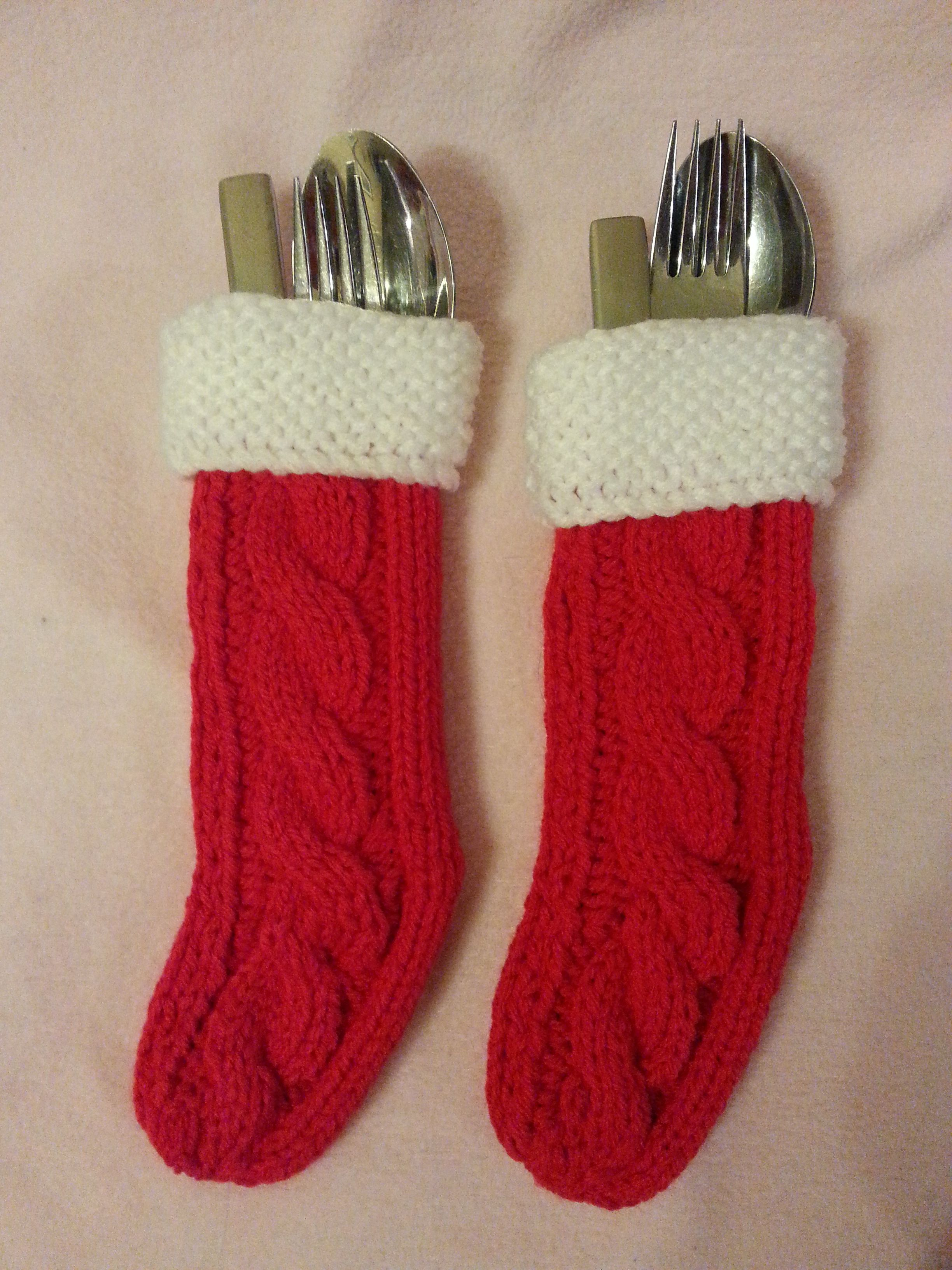Knitting Wool Holder Hobbycraft : Christmas stocking cutlery holders knitted to my own