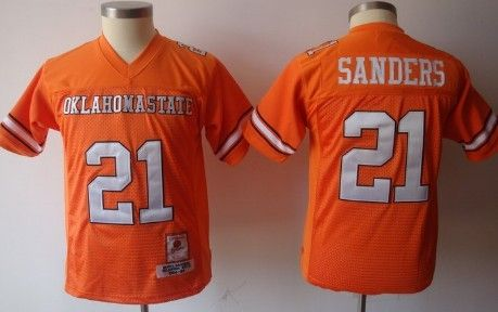 90089b727 Oklahoma State Cowboys #21 Barry Sanders Orange Throwback Kids Jersey