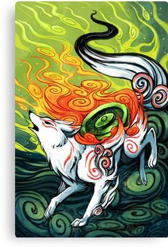 Okami Den Amaterasu Wolf Canvas Print By Michelledraws