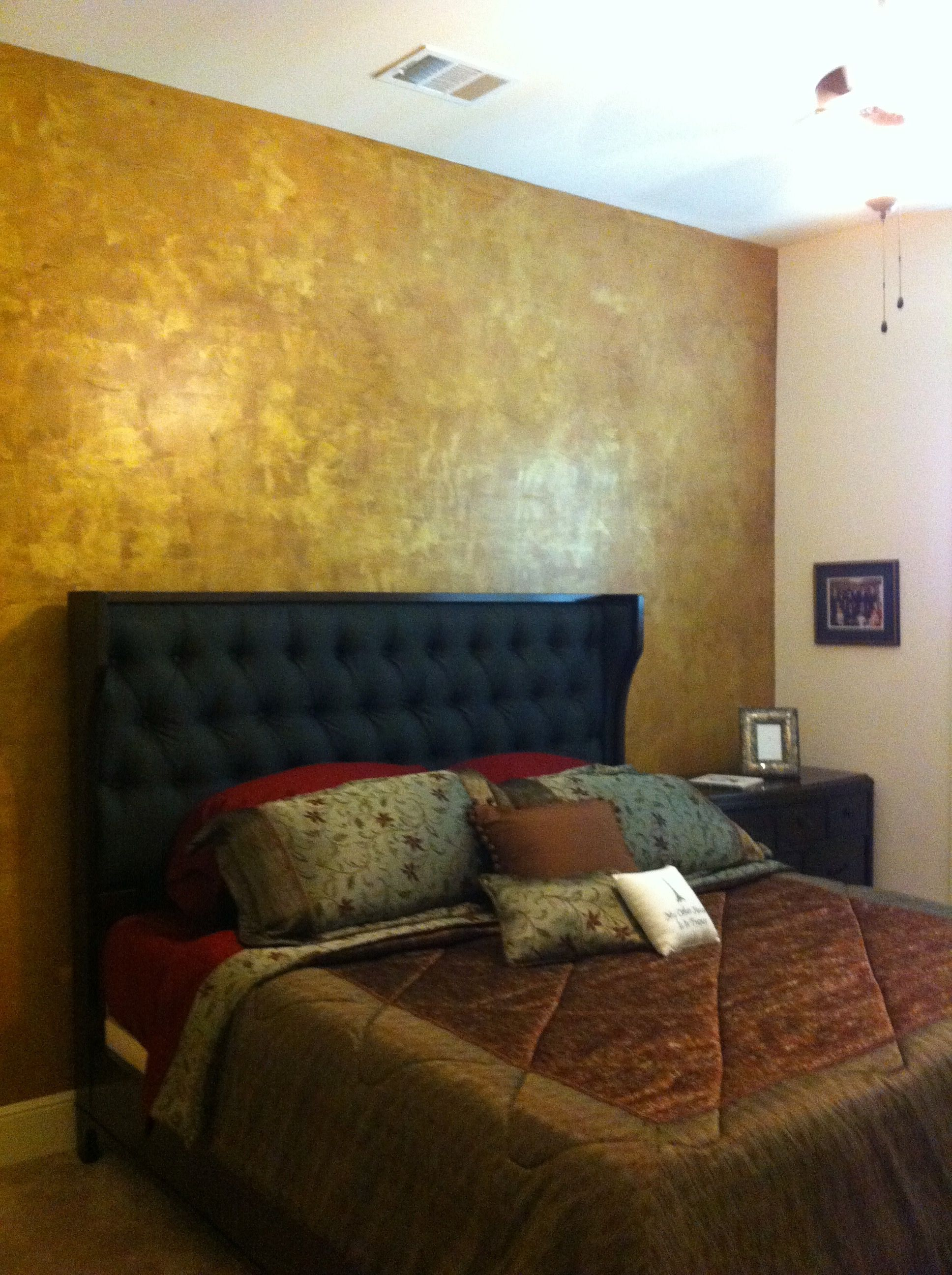 This Elegant Bedroom Features A Metallic Copper And Gold Accent