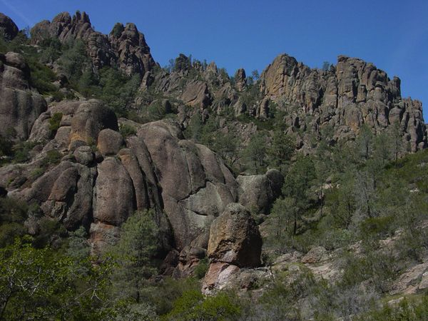 Rounded knobs and pinnacles rise above Condor Gulch in Pinnacles National Monument. Weathering of volcanic rock gives rise to the park's unique landscape.