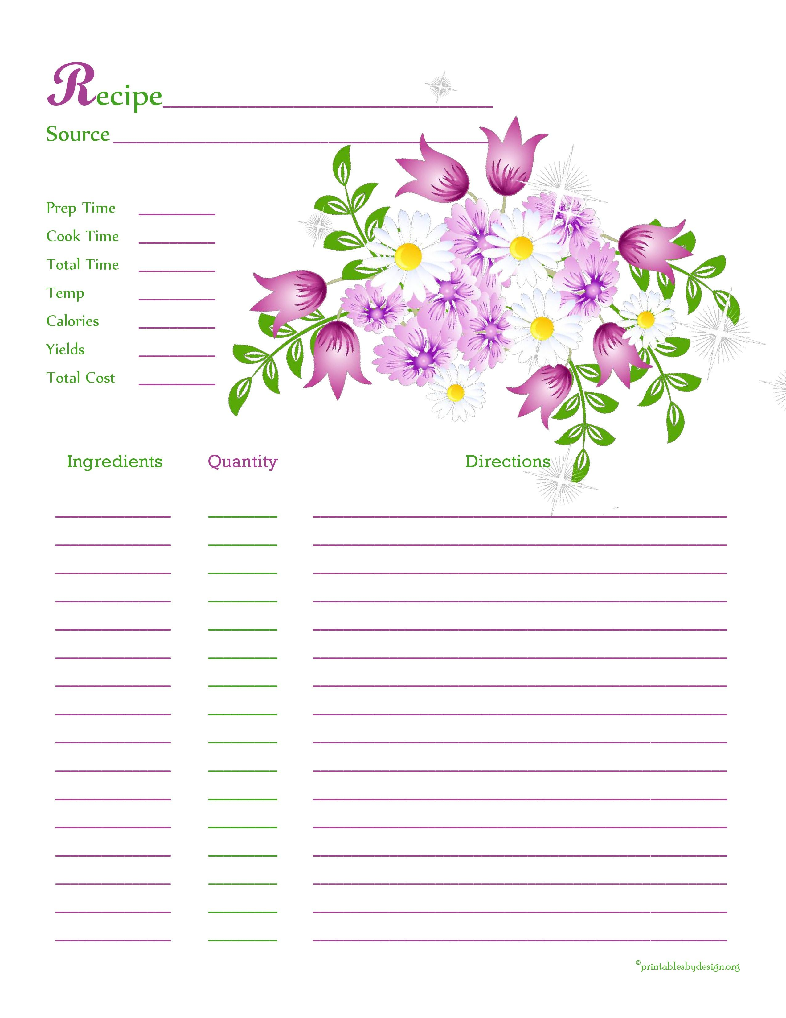 Purple White Flower Recipe Card Full Page The Preview Of This Is Blurry But It Prints Really Ni Recipe Cards Recipe Cards Template Printable Recipe Cards