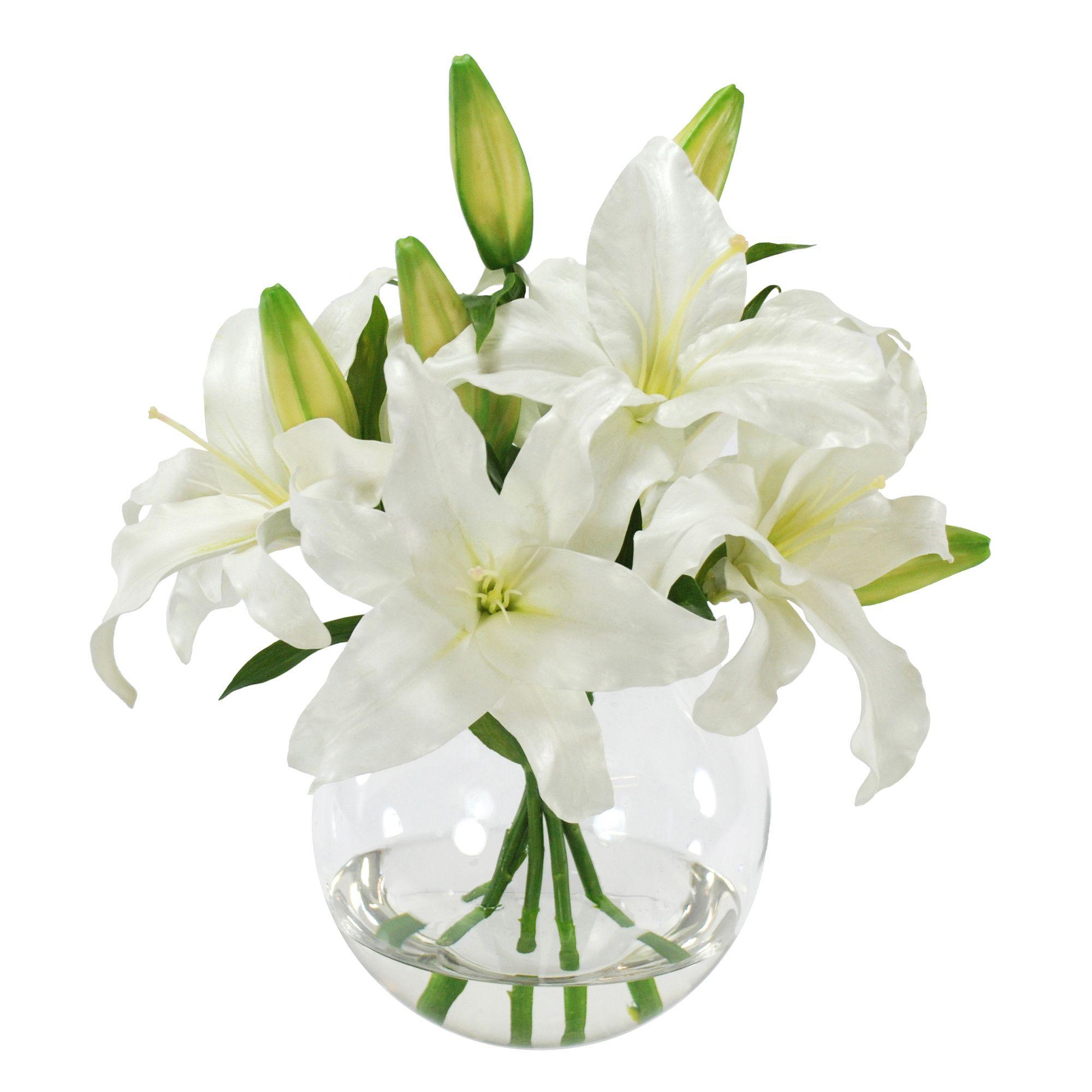 Casablanca Lily Floral Arrangement In Glass Vase Faux Flower Arrangements Lily Bouquet Flower Arrangements