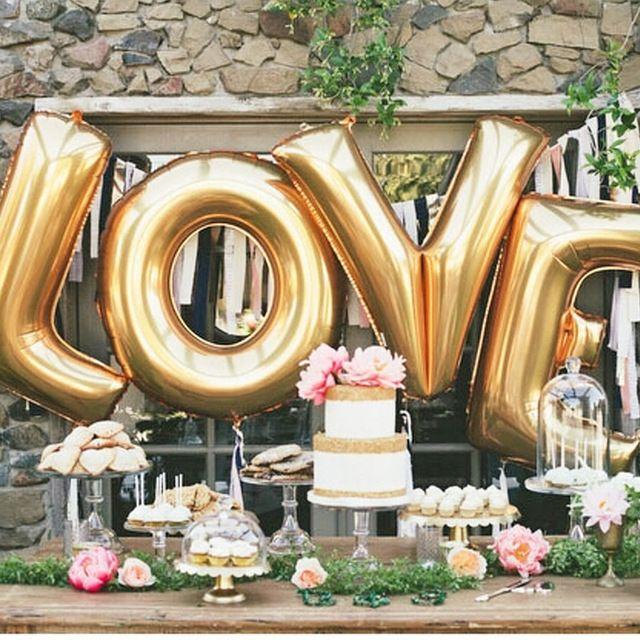 """16 """" oro plata amor helio globos de papel de aluminio carta del"""