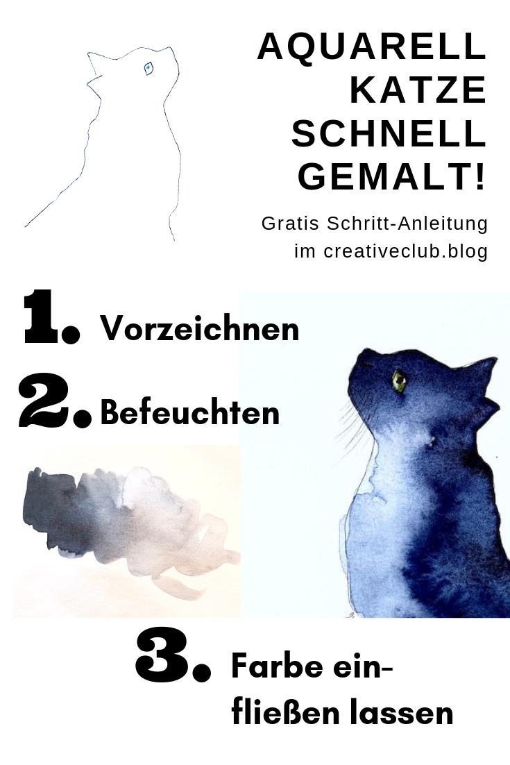 Wie malt man eine Katze mit Aquarellfarben?
