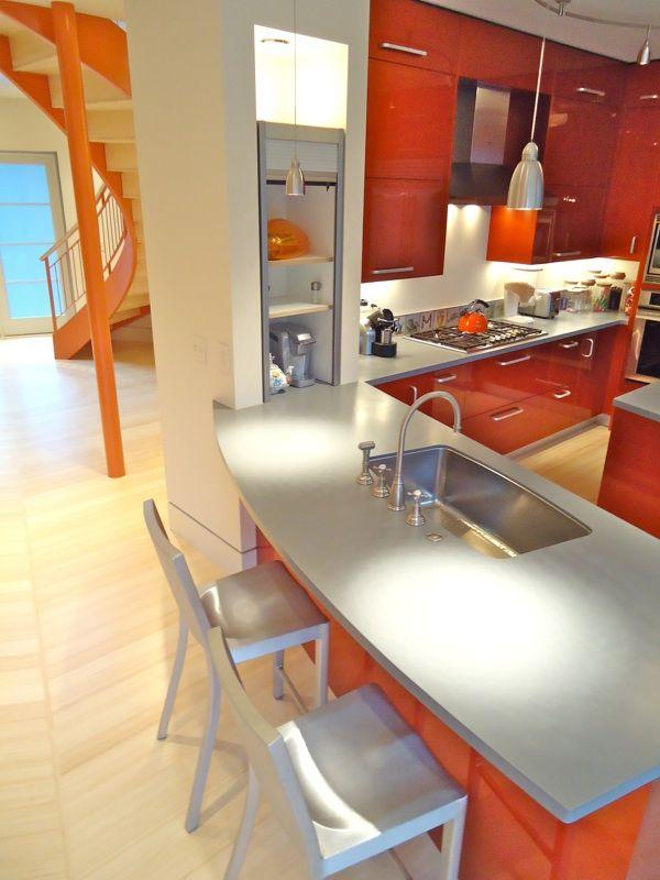 Modern Orange Greenkitchen Design  I Want  Home  Pinterest Classy Kitchen Design Massachusetts 2018