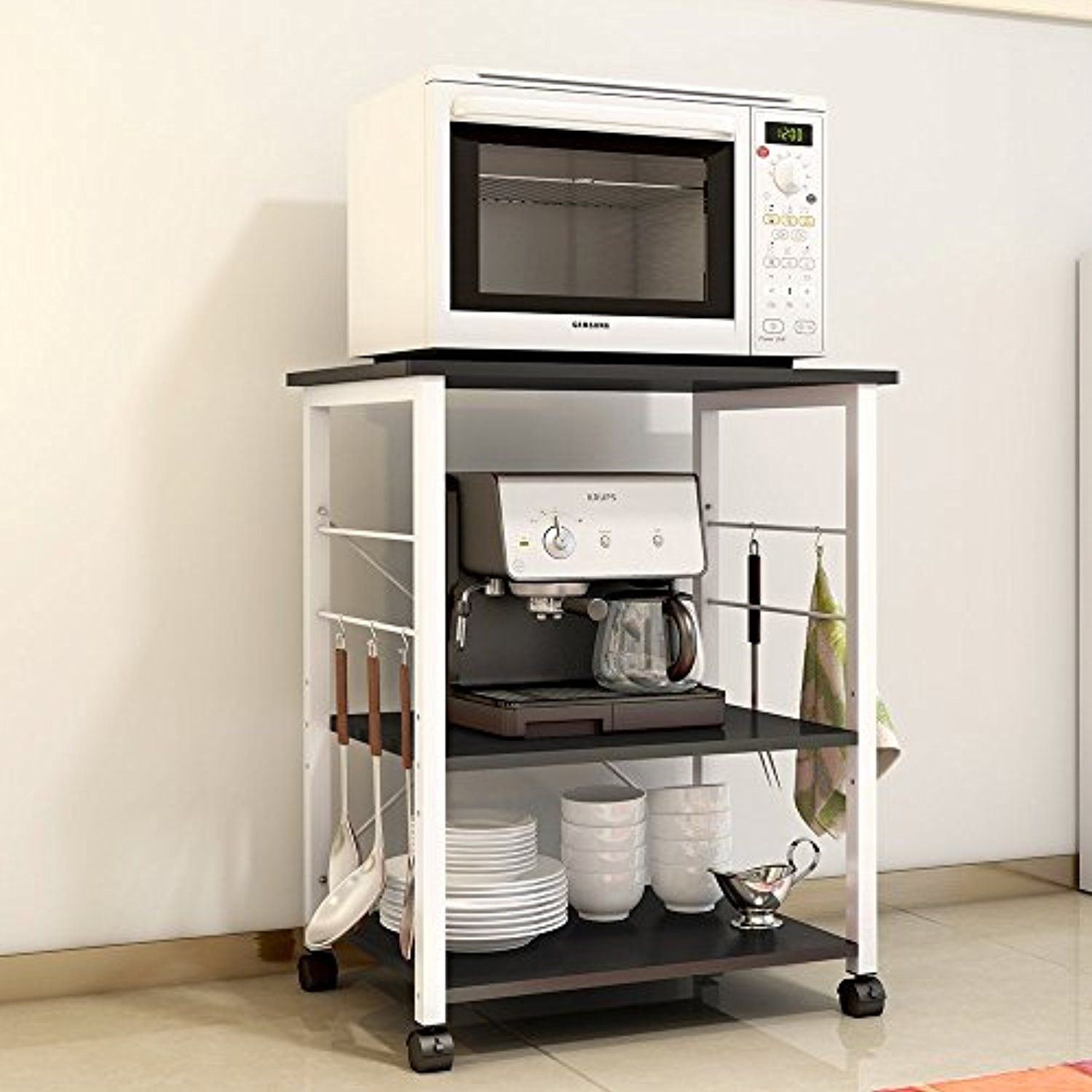 Soges 2 Tier Microwave Cart Utility Cart With Wheel Microwave