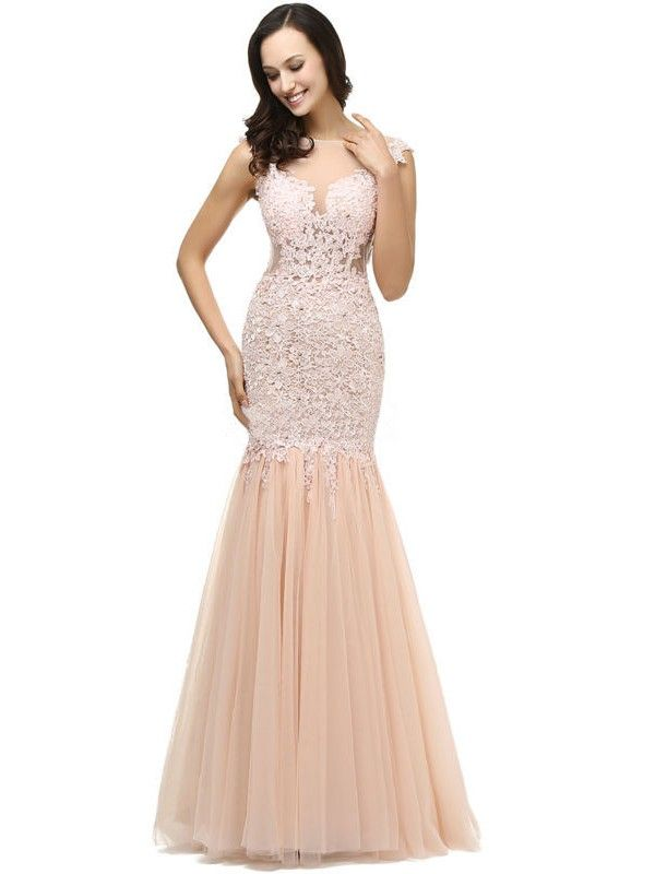 Expensive Scoop Neck Tulle Appliques Lace Trumpet/Mermaid Prom Dresses