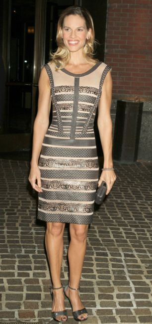 """Hilary Swank in Hervé Leger by Max Azria Spring 2011 at the N.Y. screening of """"Conviction"""", October 2010"""