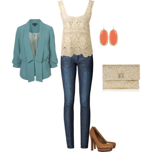 The blazer is GREAT. I love the tank and the earrings. I'm not a fan of skinny jeans or the crazy heels, though.