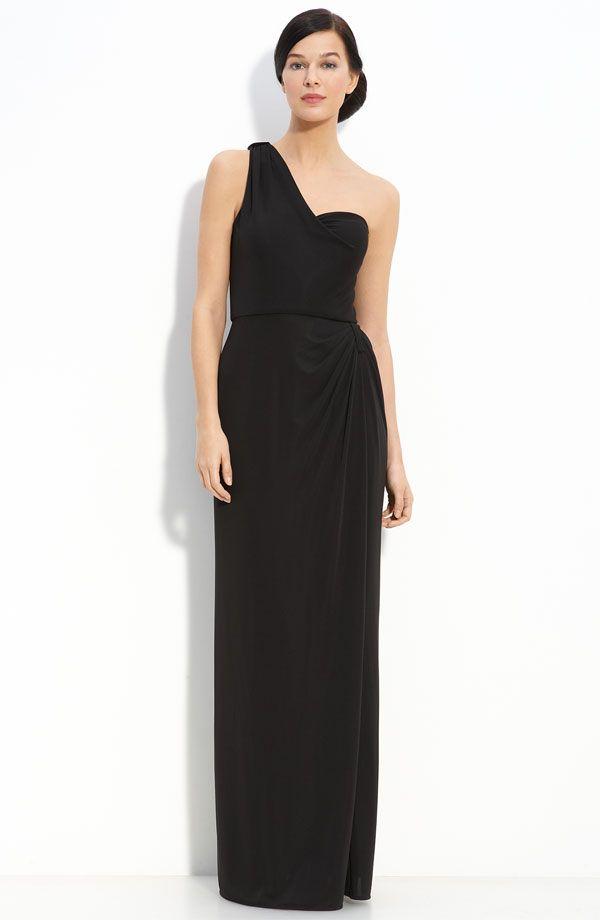 Long One Shoulder Bridesmaid Dress Jvb Pinterest Black
