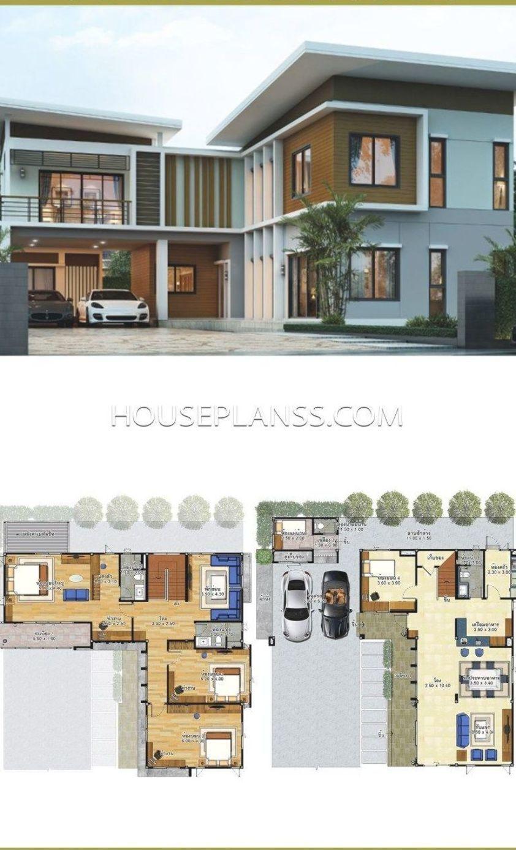 House Plans Idea 15x15 5 With 4 Bedrooms House Plans Sam Arsitektur Rumah Denah Rumah Arsitektur