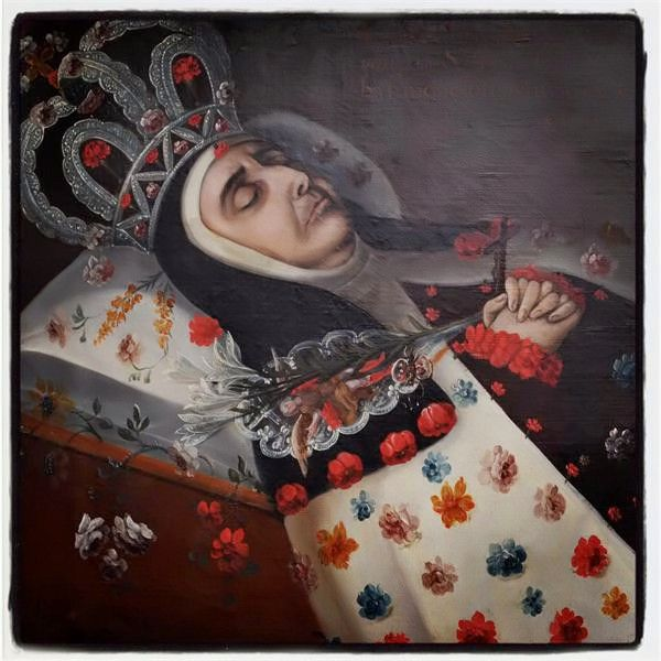 "Anónimo novohispano, Retrato funerario de sor María de Cristo, convento de Santa Teresa ""La Nueva"" de México, óleo sobre tela, sin medidas, 1734, colección particular, catalogación por Juan Carlos Cancino."