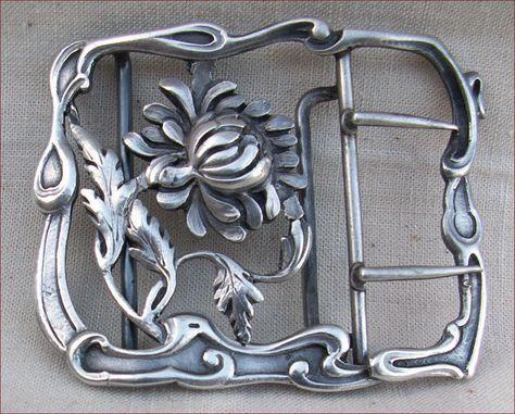 French Art Nouveau Sterling Silver Belt Buckle 1900