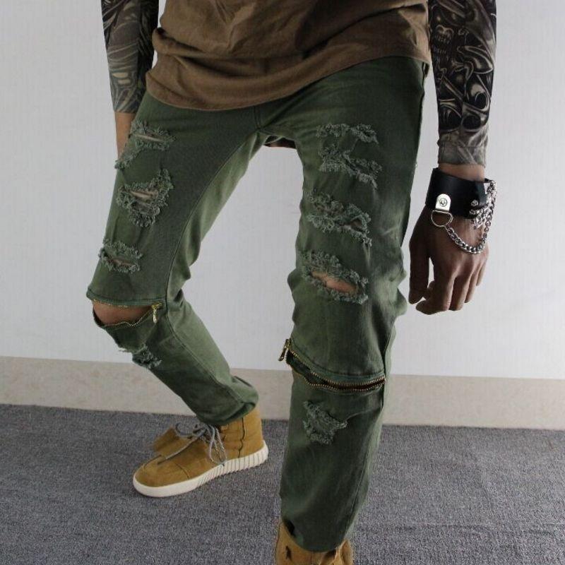 f5ebbfaba03 2016 Army Green Black Ripped Denim Pant Knee Hole Zipper Biker Jeans Men  Slim Skinny Destroyed