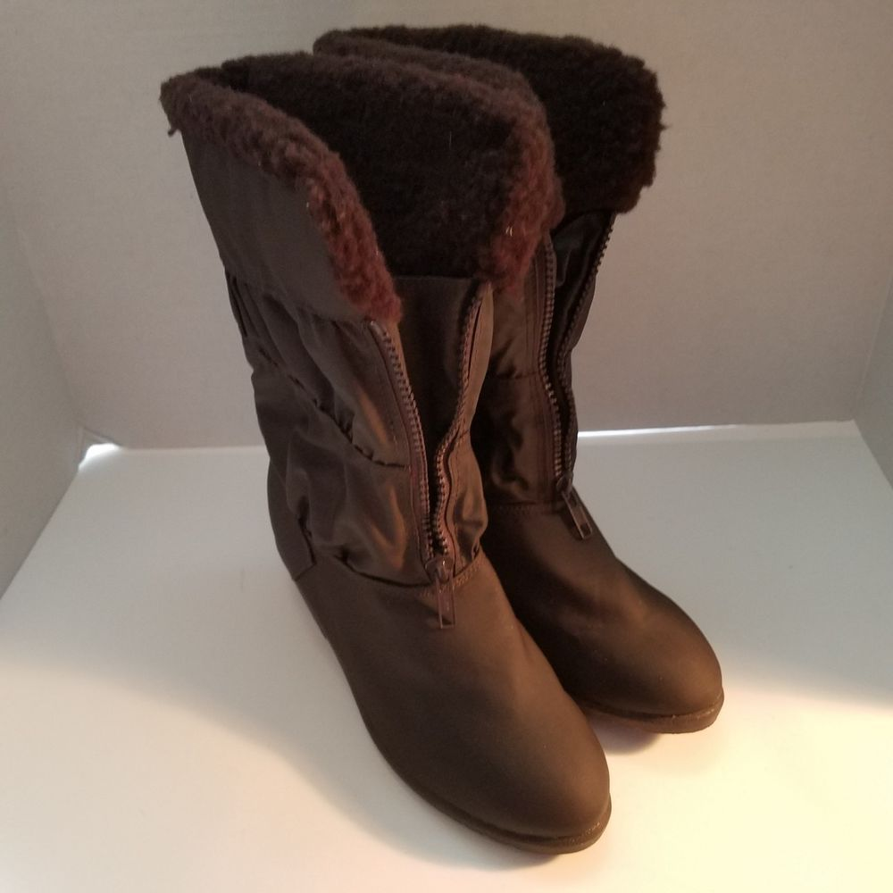 a6daaa5bb65 Hush Puppies Faux Fur Lined Winter Boots Waterproof Womens Size 6.5M Brown   HushPuppies  MidCalfBoots  Casual