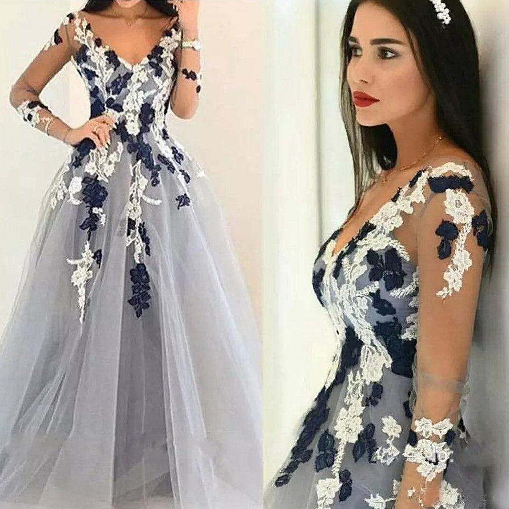 Elegant ALine Tulle Long Sleeve Prom Dress VNeck Applique Floor