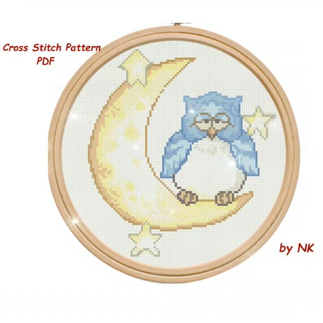 Moon Cross Stitch Pattern Pdf Modern Cross Stitch Cute Easy Cross Stitch Moon And Owl Pattern Baby Room Decor For Kids Download Video Video In 2020 Moon Cross Stitch Pattern Moon