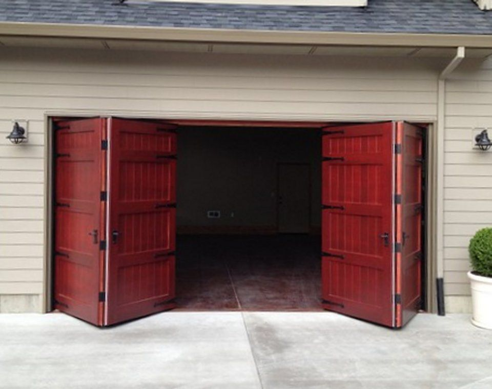 Bi Fold Carriage Doors 16 Ft X 8 Ft Insulated Wood Garage Doors Garage Doors Carriage Garage Doors Garage Door Design