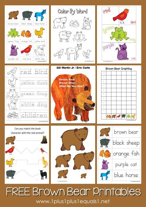 Free Brown Bear Brown Bear Printables from www.1plus1plus1equals1 ...