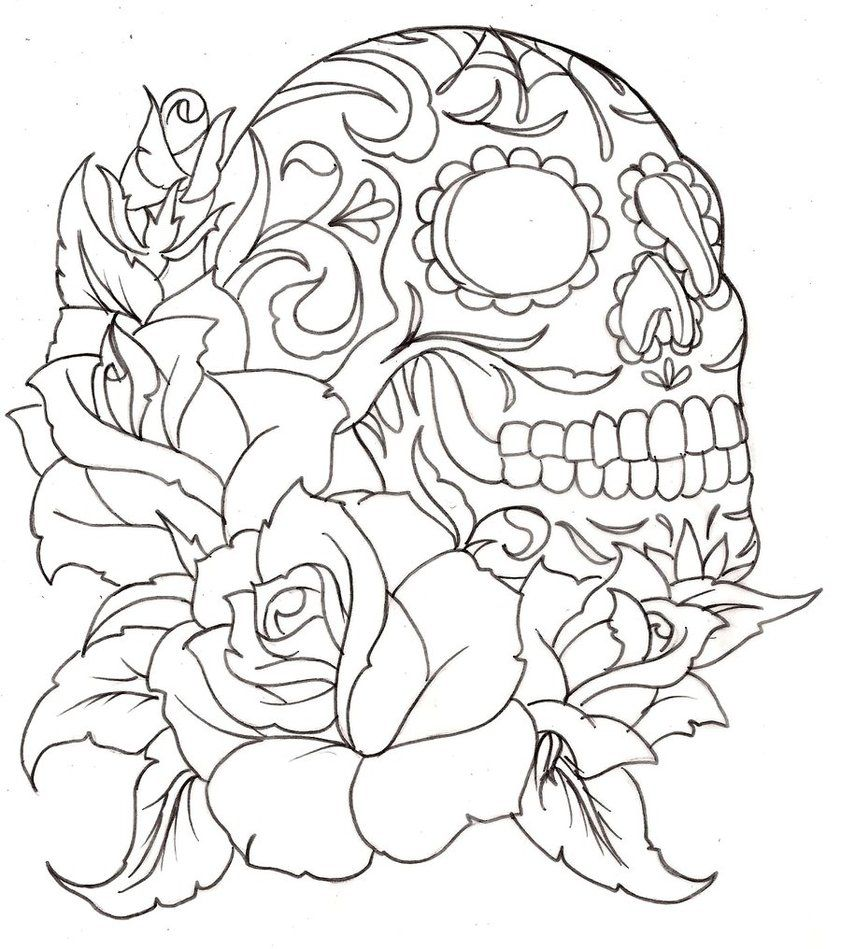 The coloring book tattoo - Sugar Skulls And Roses Coloring Pages Printable Coloring Pages Sheets For Kids Get The Latest Free Sugar Skulls And Roses Coloring Pages Images