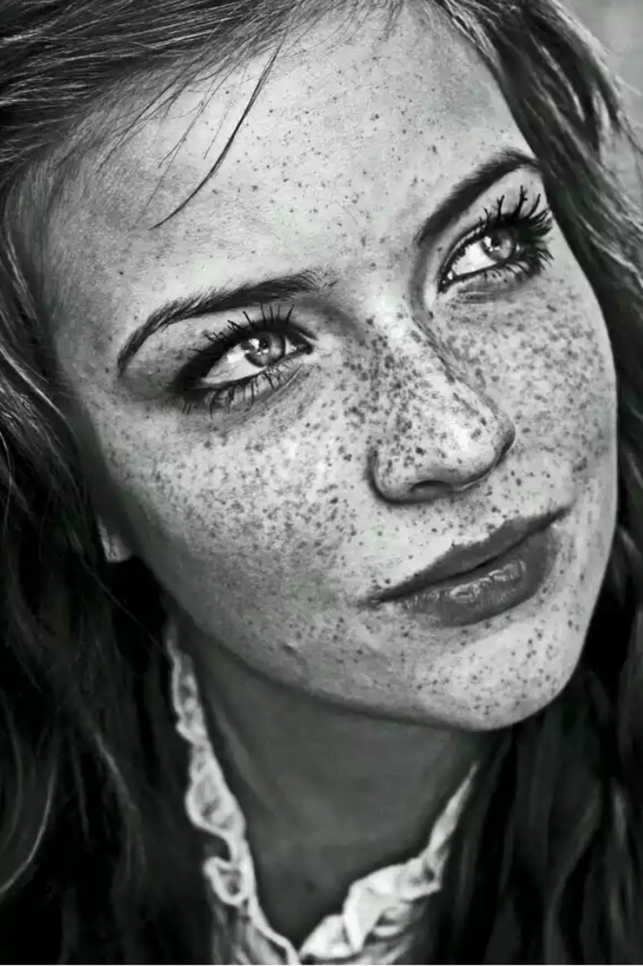 Girl with freckles face pencil drawing realistic face drawing amazing pencil drawings art