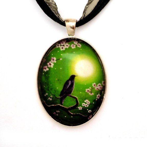 Amazon.com: Raven on a Spring Night Handmade Fine Art Pendant: Jewelry