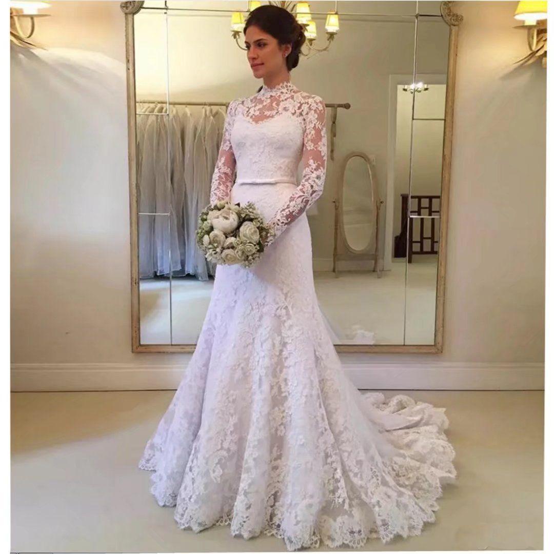 Mermaid Lace High Neck Wedding Dress High Neck Lace Wedding Dress Embroidered Lace Wedding Dress Long Sleeve Wedding Dress Lace [ 1080 x 1080 Pixel ]